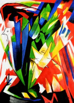 "Franz Marc - Birds 32X44 "" Oil Painting"