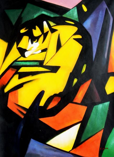 Franz Marc - The Tiger 90x120 cm Reproduction Oil Painting