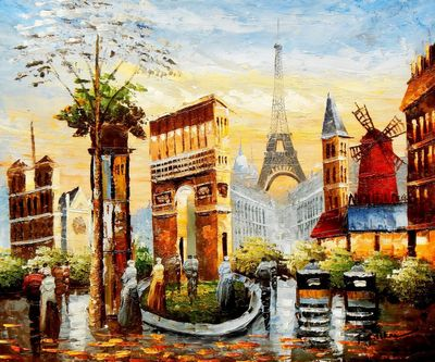 "Modern Art Collage Of Paris 20X24 "" Oil Painting"