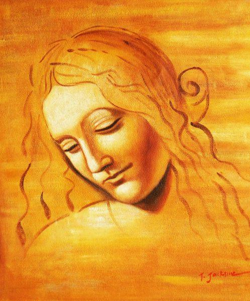 Leonardo Da Vinci - Head Of A Woman 50x60 cm Reproduction Oil Painting