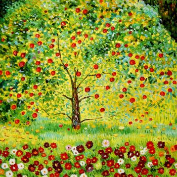 "Gustav Klimt - The Appletree 32X32 "" Oil Painting"