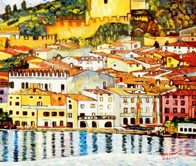"Gustav Klimt - Malcesine On Lake Garda 20X24 "" Oil Painting"