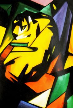 "Franz Marc - The Tiger 24X36 "" Oil Painting"