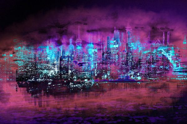 Neon City II-Limited Edition Print on Canvas by Neil Hemsley