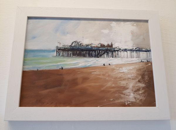 Pier Reflections painting in oil by Tony Parsons