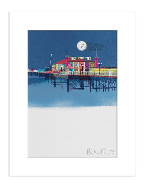 Palace Pier by night - giclee print A3 – image 1