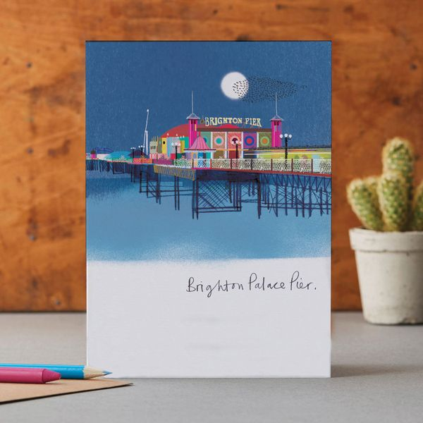Palace Pier by night - Greeting Card