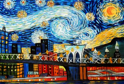 Homage To Van Gogh - New York Starry Night 60x90 cm Reproduction Oil Painting 58605