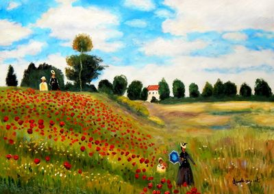 Claude Monet - Poppy Field At Argenteuil 80x110 cm Reproduction Oil Painting