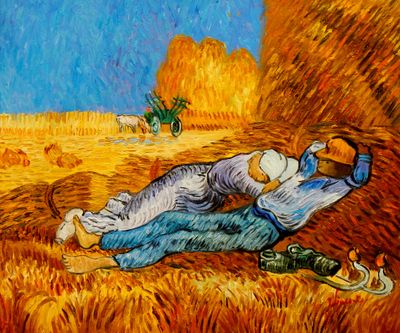 Vincent Van Gogh - Rest From Work 50x60 cm Reproduction Oil Painting