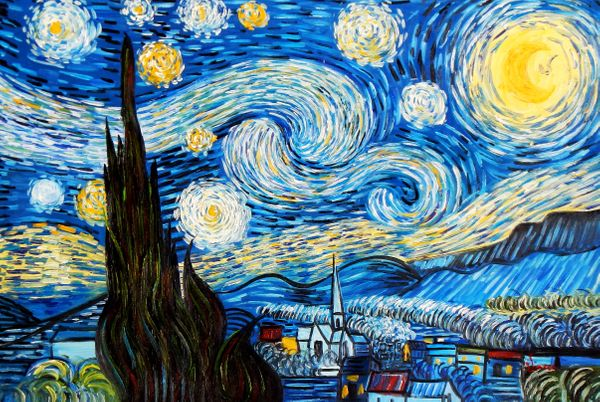 Vincent Van Gogh - Starry Night 60x90 cm Reproduction Oil Painting 58697