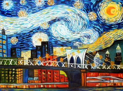 Homage To Van Gogh - New York Starry Night 80x110 cm Reproduction Oil Painting
