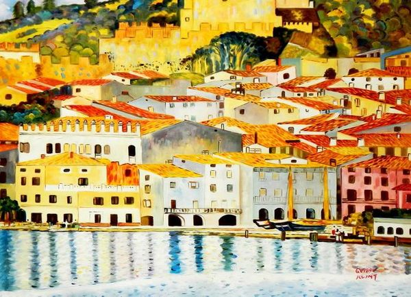Gustav Klimt - Malcesine On Lake Garda 80x110 cm Reproduction Oil Painting 58742