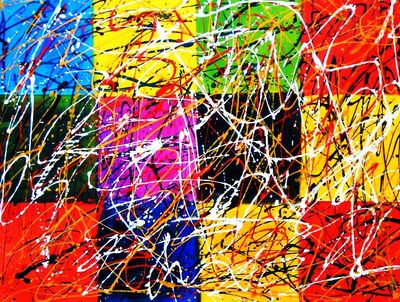 Homage To Pollock - Dripping Over Cubes 90x120 cm Reproduction Oil Painting