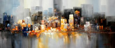 Abstract New York Manhattan Skyline At Night 30X72 Oil Painting 58757