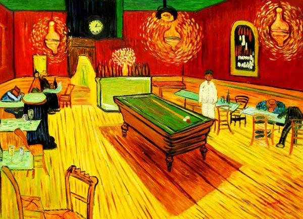 Vincent Van Gogh - Night Cafe - Arles 80x110 cm Reproduction Oil Painting