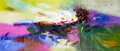 Modern Abstract - Blowing Colors 30X72 Oil Painting