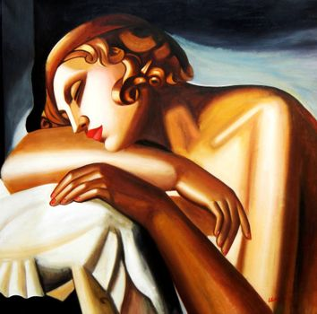 Homage To Tamara De Lempicka - The Sleeper 120x120 cm Reproduction Oil Painting