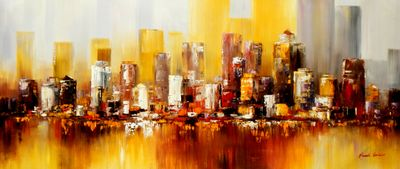 Abstract Manhattan Skyline In Autumn 30X72 Oil Painting