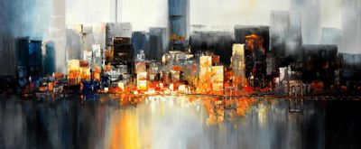 Abstract New York Manhattan Skyline At Night 30X72 Oil Painting 58847