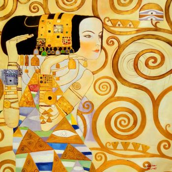 Gustav Klimt - The Waiting 120x120 cm Reproduction Oil Painting