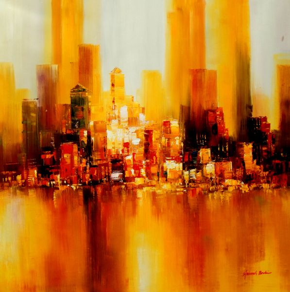 Abstract Manhattan Skyline In Autumn 120x120 cm Oil Painting Museum Quality