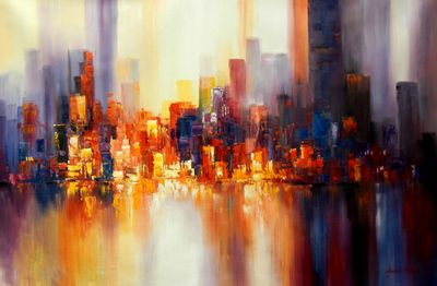 Abstract New York Skyline At The Evening 120x180 cm Oil Painting