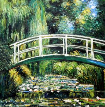 Claude Monet - Bridge Over The Water Lily Pond 80x80 cm Reproduction Oil Painting 59151