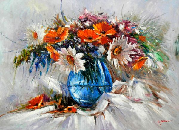 Modern Abstract - Vase With Colorful Flowers 80x110 cm Oil Painting