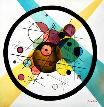 Homage To Kandinsky - Variation Of The Transverse Line 80x80 cm Reproduction Oil Painting 59177