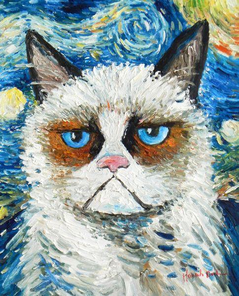 "Modern Art - Grumpy Cat Meets Van Gogh 40x50 cm "" 59209"