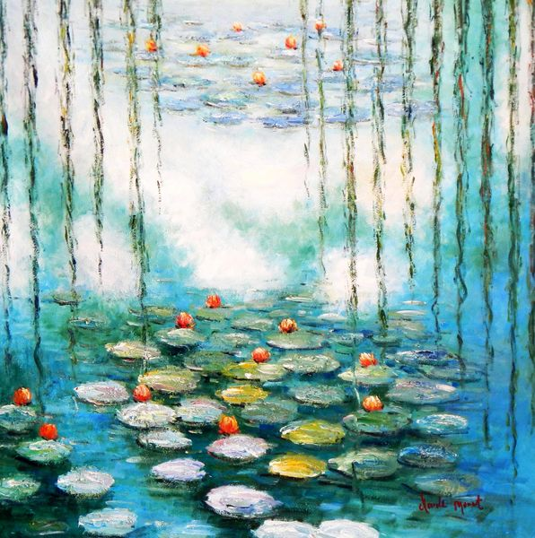 Claude Monet - Water Lilies & Pastures Special Design Mint Green 80x80 cm Reproduction Oil Painting