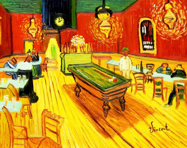 Vincent Van Gogh - Night Cafe - Arles 30x40 cm Reproduction Oil Painting 59251