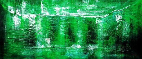 Abstract - Green Pillars 30X72 Oil Painting 59290