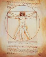 Leonardo Da Vinci - Study Of Proportions 50x60 cm Reproduction Oil Painting 59398 001