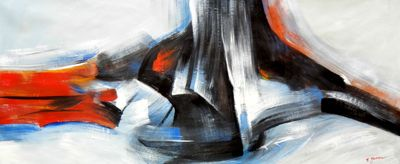 Abstract - Color Splash 30X72 Oil Painting