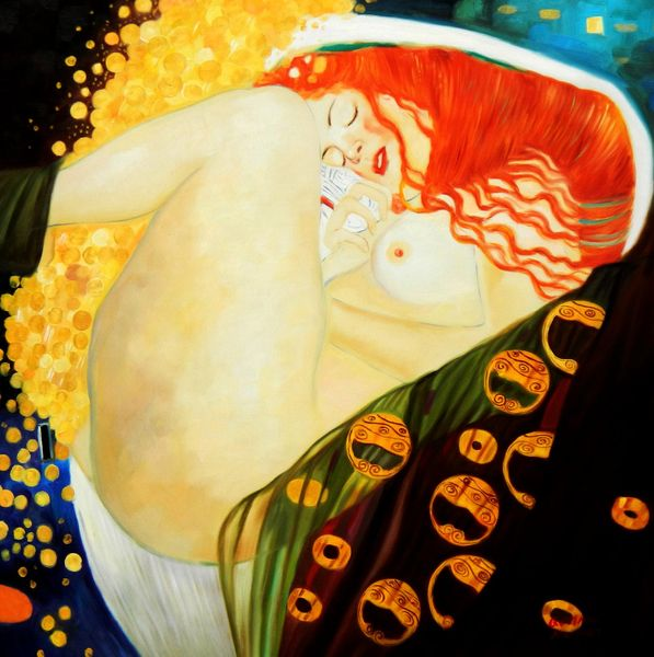 Gustav Klimt - Danae 80x80 cm Reproduction Oil Painting 59435