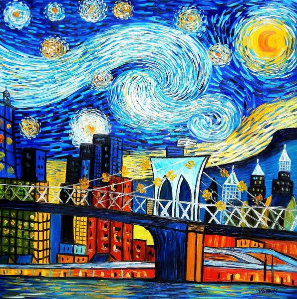 Vincent Van Gogh - Homage New York Starry Night 120x120 cm Reproduction Oil Painting