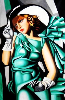 Homage To T. De Lempicka - Girl In Green With Gloves 120x180 cm Reproduction Oil Painting 59470