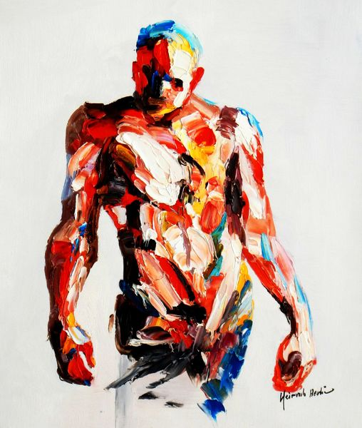 Abstract - Standing Nude Male 50x60 cm Oil Painting
