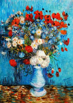 Vincent Van Gogh - Vase With Cornflowers And Poppies 80x110 cm Reproduction Oil Painting