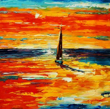 Modern Art - Sailing Into The Sunset 60x60 cm Oil Painting