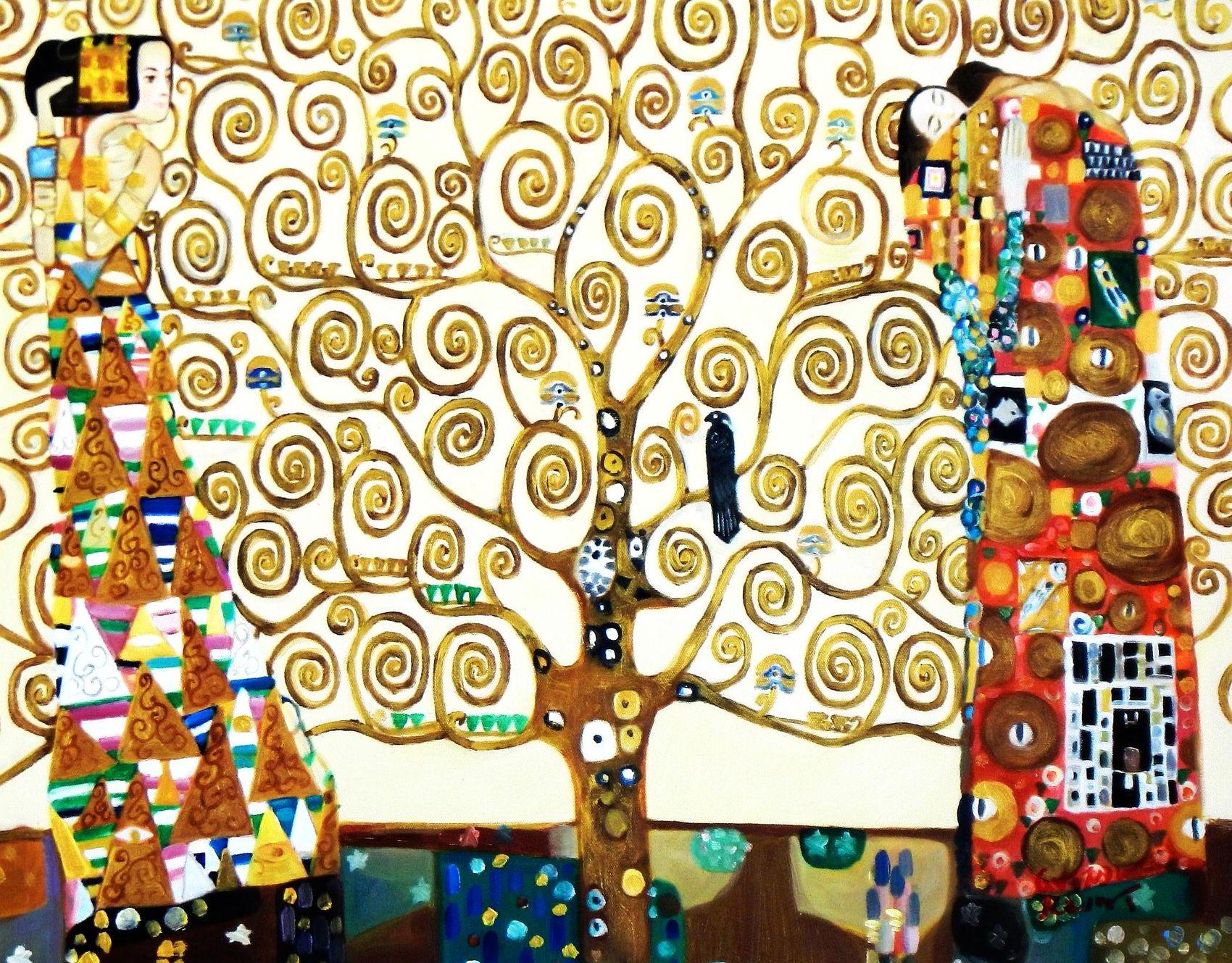 Gustav Klimt The Tree Of Life 50x60 Cm Reproduction Oil Painting