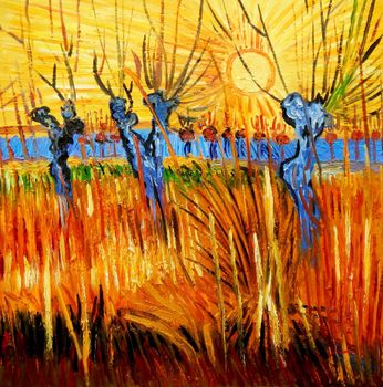 Vincent Van Gogh - Pastures At Sunset 60x60 cm Reproduction Oil Painting