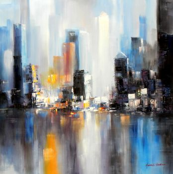 Abstract New York Manhattan Skyline In Winter 120x120 cm Oil Painting Museum Quality