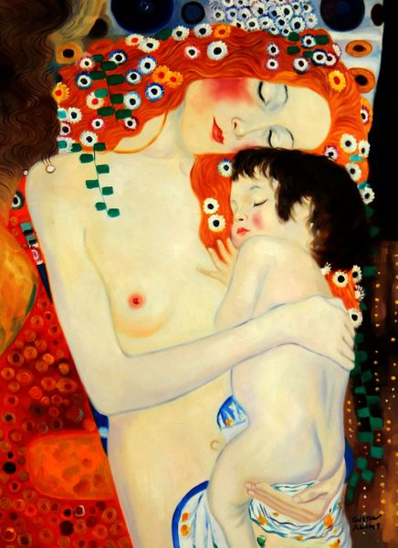 Gustav Klimt - Mother And Child 90x120 cm Reproduction Oil Painting