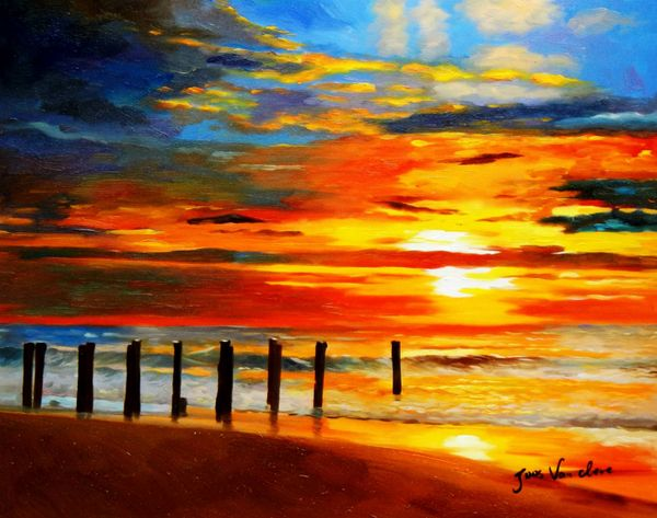 Modern Art - North Sea Sunset 40x50 cm Oil Painting