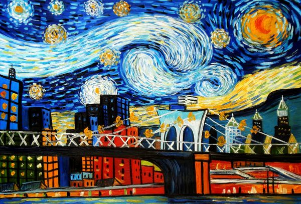 Homage To Van Gogh - New York Starry Night 60x90 cm Reproduction Oil Painting 59643