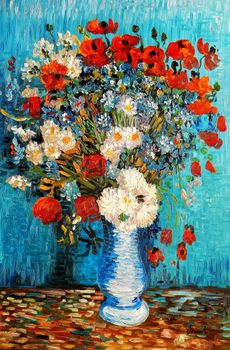 Vincent Van Gogh - Vase With Cornflowers And Poppies 60x90 cm Reproduction Oil Painting