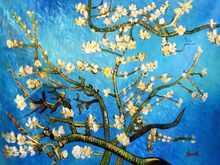 Vincent Van Gogh - Branches With Almond Blossom 90x120 cm Reproduction Oil Painting 001